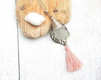 Sea glass, Bronze Leaf and Tassel Boho Pendant
