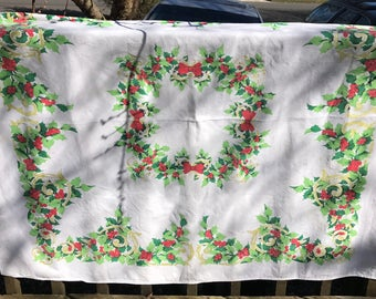 Vintage Christmas Tablecloth, Holly and Berries