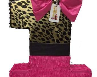 Large Cheetah and Pink Number One Pinata