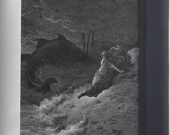 Canvas 24x36; Jonah And The Whale From Gustave Dore English Bible Art 1866