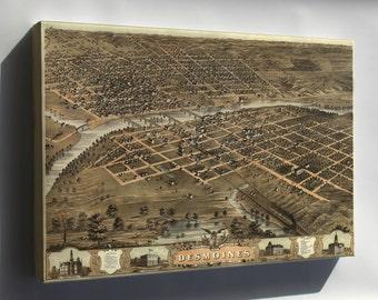 Canvas 24x36; Birdseye View Map Of Des Moines, Iowa 1868