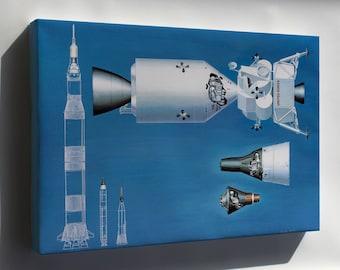 Canvas 24x36; Nasa Spacecraft From Mercury Gemini Apollo