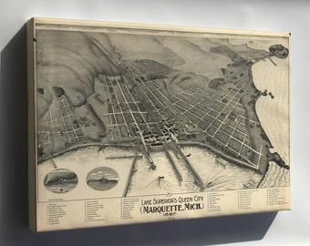 Canvas 24x36; Map Of Marquette, Michigan 1897