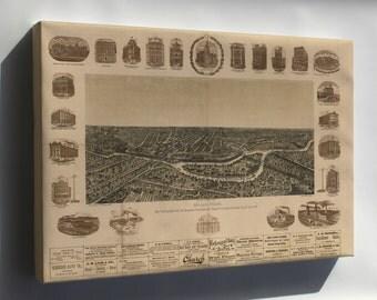 Canvas 24x36; Map Of Dallas, Texas. 1892