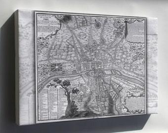 Canvas 24x36; Map Of Paris France Circa 1223