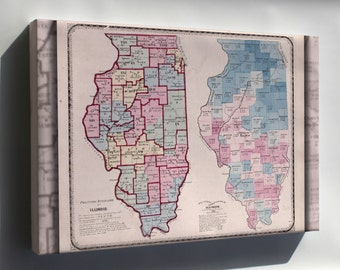 Canvas 16x24; Map Of The Political Divisions Of Illinois 1870