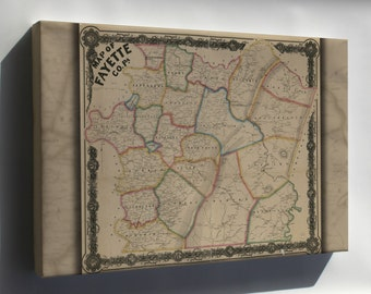 Canvas 16x24; Map Of Fayette Co. Pennsylvania 1858 P1
