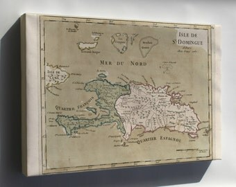 Canvas 16x24; Map Of Hispaniola Haiti Dominican Republic 1767