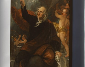 Canvas 16x24; Benjamin Franklin Drawing Electricity From The Sky Benjamin West