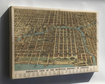 Canvas 16x24; Birdseye Map Of Chicago Business District 1898