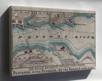 Canvas 16x24; Map Of Blockade Of Potomac River 1861