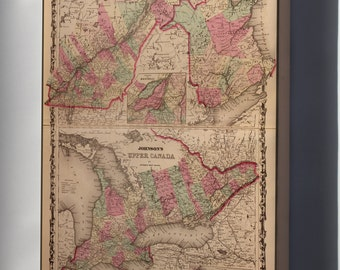 Canvas 16x24; Map Of Ontario And New Brunswick Canada 1862
