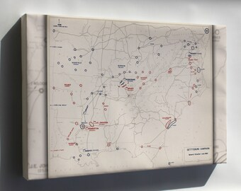 Canvas 16x24; Map Of Civil War Gettysburg Campaign, 1863