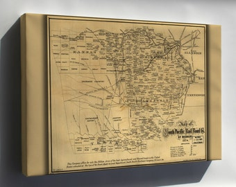 Canvas 16x24; Map Of South Pacific Railroad Co Of Missouri 1870