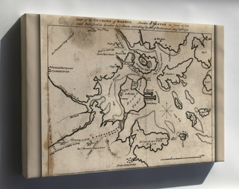 Canvas 16x24; Map Of The Environs Of Boston. Drawn At Boston In June, 1775