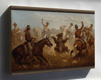 Canvas 16x24; James Walker Cowboys Roping A Bear