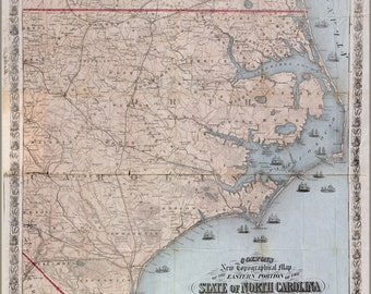 16x24 Poster; Map Of Eastern Portion Of North Carolina 1864