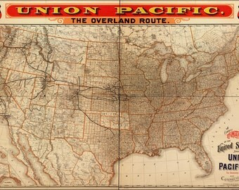16x24 Poster; Map Of United States Union Pacific Railroad 1892