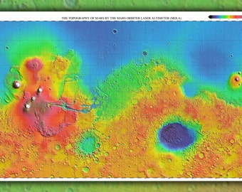 16x24 Poster; Mars Topography Map 3