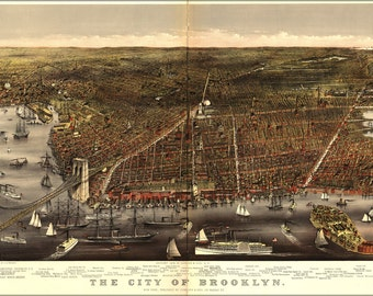16x24 Poster; Map Of City Of Brooklyn 1879