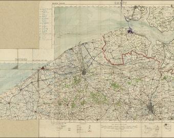 16x24 Poster; Wwi Map Bruges Region, Belgium 1914 World War One