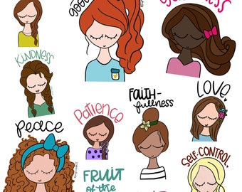 Fruit of the Spirit BEAUTIES sticker Set by Pupocoarts Planner stickers christian stickers, Mother's day Gift