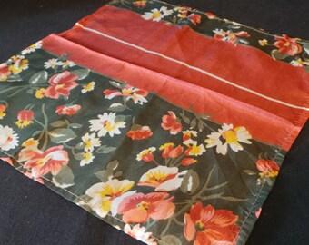 Vintage Silk Floral Pocket Handkerchief Hankie Green Rust