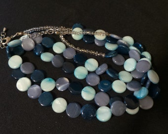 Vintage Shades Of Blue Glass Bead Disks Multi Strand Beaded Necklace
