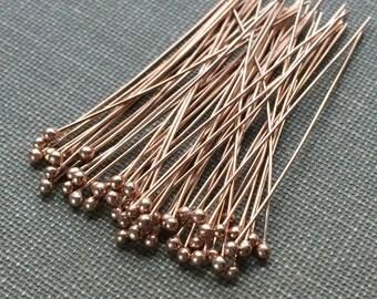 Rose Gold Vermeil 18K Headpins 28 gauge 1.5 Inch Package of 25 Pieces