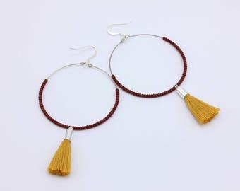 Tassel Hoop Earrings, Mustard Yellow Tassels and Ox Blood Seed Beads, Handmade Jewelry by Detail London.