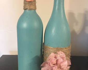 Handmade, Chalk Painted, Twine Covered Wine Bottle With Floral Deccor