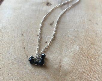 Black Spinel Gemstone and Swarovski Crystal Necklace on Sterling Silver// Gemstone Necklaces // Cluster Necklaces
