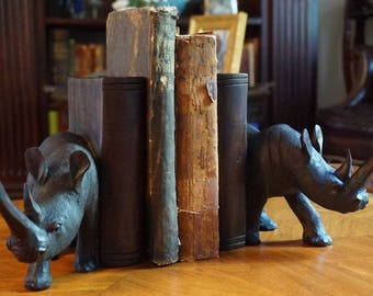 Hand Carved Rhino Bookends