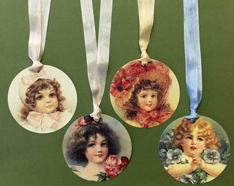 Victorian Girls Faces Tags