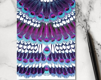 Purple Feather Notebook - Feather Notebook - Feather Jotter - Bird Notebook - Stationery