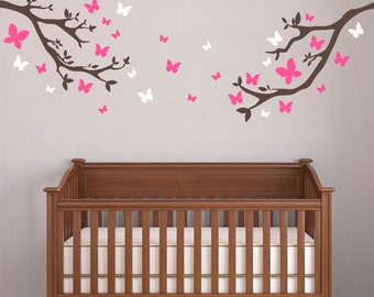 Butterfly Wall Decal - Butterfly Branches Wall Decal - Kids Room Decal - Wall Decal