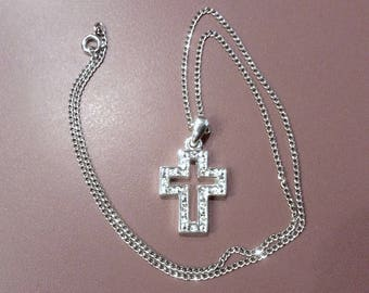 Vintage Small  Rhinestone Cross Charm on Silver Chain Necklace 16 inch Chain