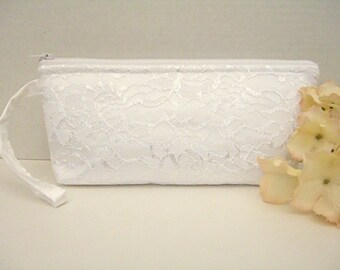 White Satin Wristlet Clutch - White Lace Wristlet Clutch - White Wedding Clutch - Bridal Clutch - Bridesmaid Clutch - Wristlet Purse