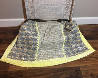 Minky baby blanket with contrasting cotton blends.  Yellow, blacks grays and white