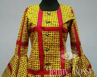 Ready to ship _African print Top,Ankara Bell sleeve fitted shirt Blouse