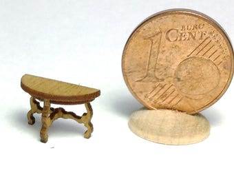 Half-round table, walnut or cherry wood, handmade in 1/144 scale