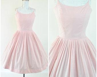 "Darling 1950's pastel pink dress ""Bobbie Brooks""  / sz XS - S  ( B 34 W 25 - 26  ) Vintage 50's Spring party dress / thin strap, full skirt,"
