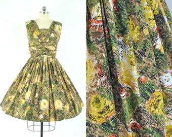 """AMAZING abstract yellow rose dress  sz XS (B 32"""" W 24"""") Vintage day dress /Fabulous mid century print cotton / latte, green, yellow and red"""