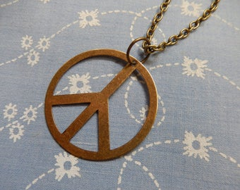 Antique Plated Peace Sign Pendant Necklace