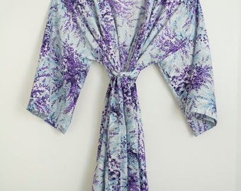 Purple and Blue Floral Print Kimono Robe