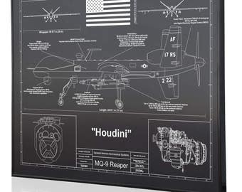 General Atomics MQ-9 Reaper Personalized Laser Engraved Blueprint Warbird Artwork.  Artwork for aviation enthusiasts. Perfect Pilots Gift!