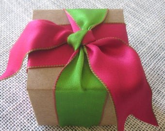 Pink Ribbon, Green Ribbon, Wire Edged Ribbon, Craft Supplies, Gift Packaging, Gift Wrapping, Party Supplies, Two-Tone Ribbon, 10 Yards.