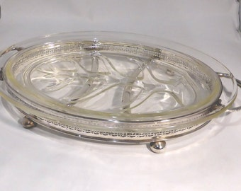 """Pyrex """"Tree of life""""platter and silver plated stand – original from the 1960s"""