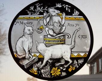 Medieval,Style,Handmade,Cats,Kitten,Monkey,Ape,Chimp,Stained Glass Suncatcher