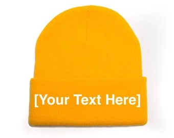 Custom Beanie, Custom Beanies, Custom Embroidered Beanie, Custom Beanie Hat, Gold